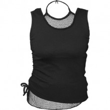 Top señora GOTHIC ROCK - 2in1 Neck Tie Mesh Top Black