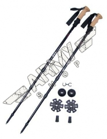 Alu trekking poles, cork handle, carrier bag